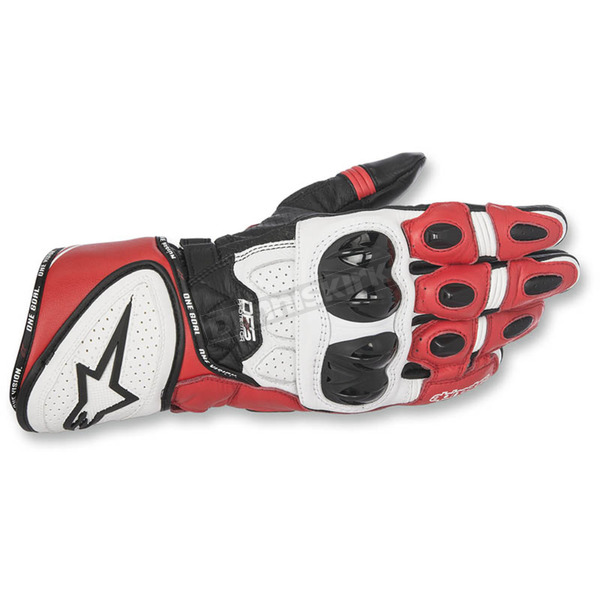 Alpinestars Black/White/Red GP Plus R Leather Gloves - 3556517-123-L