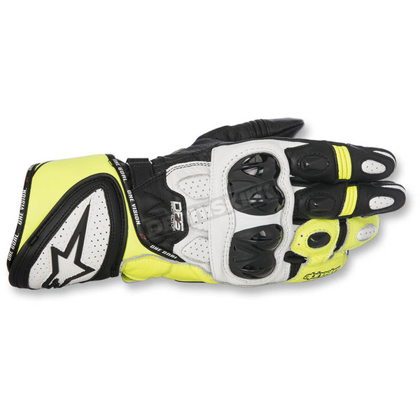 Alpinestars Black/White/Flo Yellow GP Plus R Leather Gloves - 3556517-125-XL