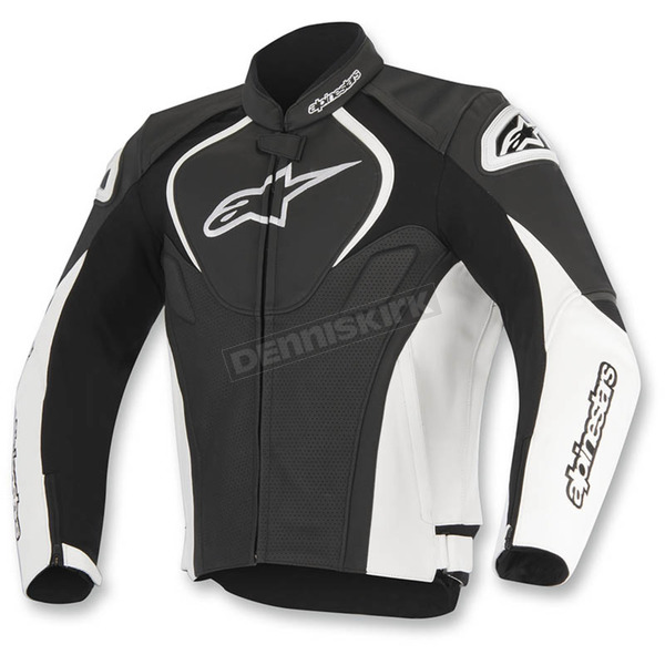 Alpinestars Black/White Jaws Perforated Leather Jacket - 3101116-12-56
