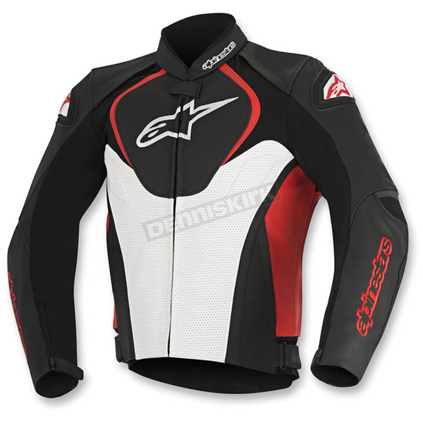 Alpinestars Black/White/Red Jaws Perforated Leather Jacket - 3101116-123-60