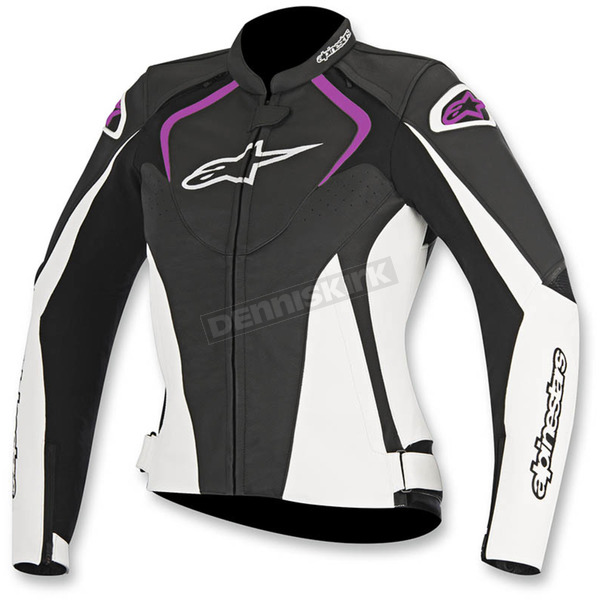 Alpinestars Womens Black/White/Fuchsia Stella Jaws Leather Jacket - 3111016-1239-48