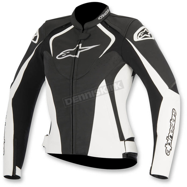 Alpinestars Womens Black/White Stella Jaws Leather Jacket - 3111016-12-50