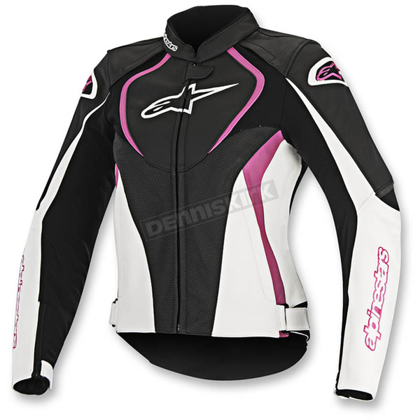 Alpinestars Black/White/Pink Womens Stella Jaws Perforated Leather Jacket - 3111116-1239-46