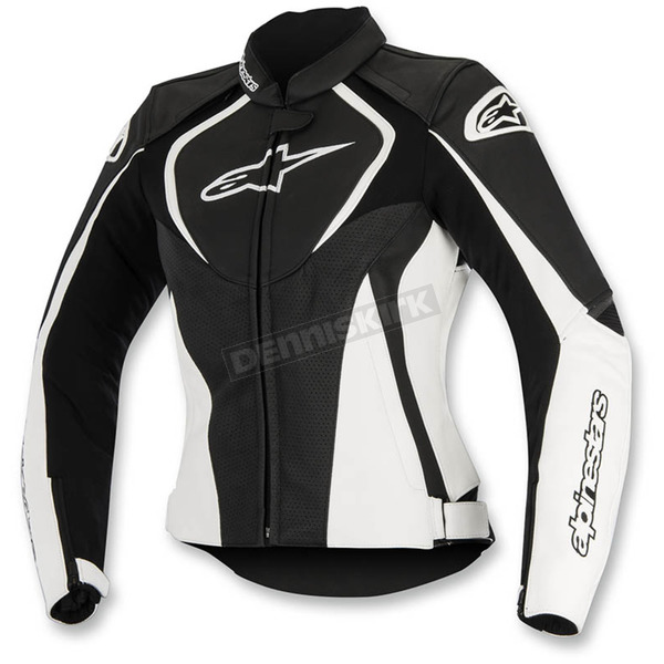 Alpinestars Black/White Womens Stella Jaws Perforated Leather Jacket - 3111116-12-40