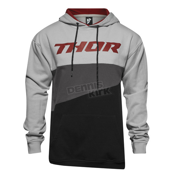 Thor Heather Gray/Burgundy Main Event Pullover Hoody - 3050-3701