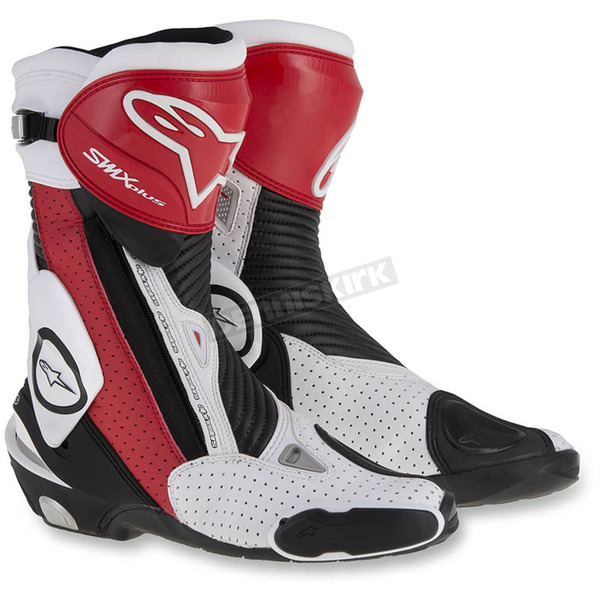 Alpinestars Black/Red/White SMX Plus Vented Boots - 2221015-1322-38