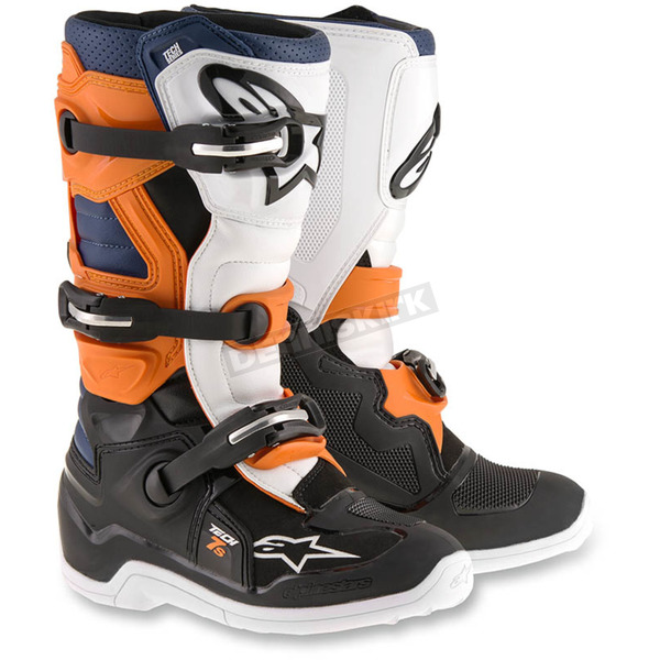 Alpinestars Black/Orange/White/Blue Youth Tech 7S Boots - 2015-1427-8