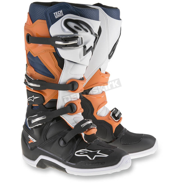 Alpinestars Black/Orange/Blue/White Tech 7 Enduro Boots - 2012114-1427-12