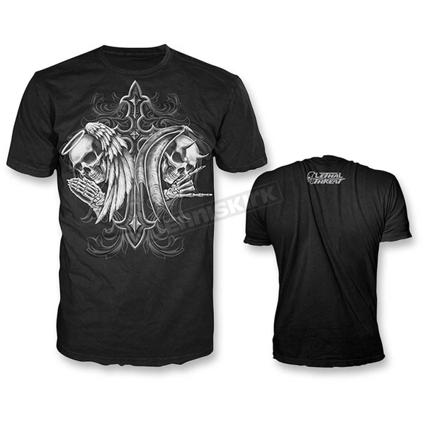 Lethal Threat Black Angel Devil Skull T-Shirt - LT20251XXXL