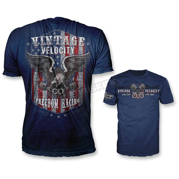 Lethal Threat Blue Freedom Racing USA T-Shirt - VV40109L