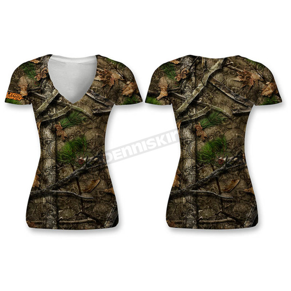 Lethal Threat Women's Camo Backwoods Skull T-Shirt - SC50512M