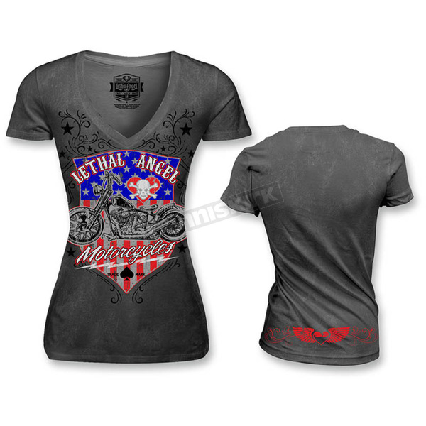 Lethal Threat Womens USA Motorcycle T-Shirt - LT20335M