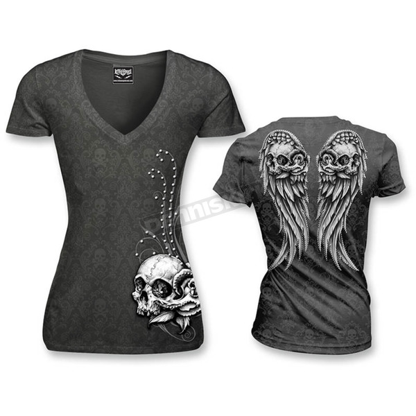 Lethal Threat Womens Wing Skull Burnout T-Shirt - LT20303XL