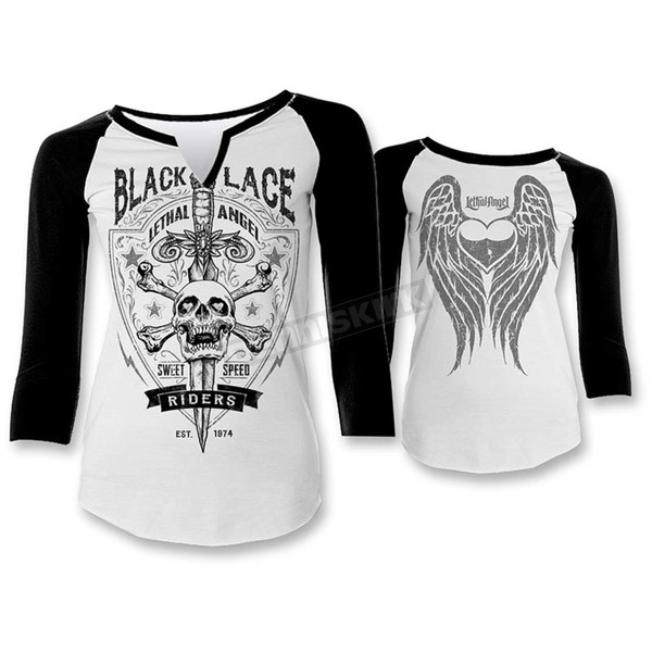 Lethal Threat Womens Black Lace Riders Shirt - LT20326S
