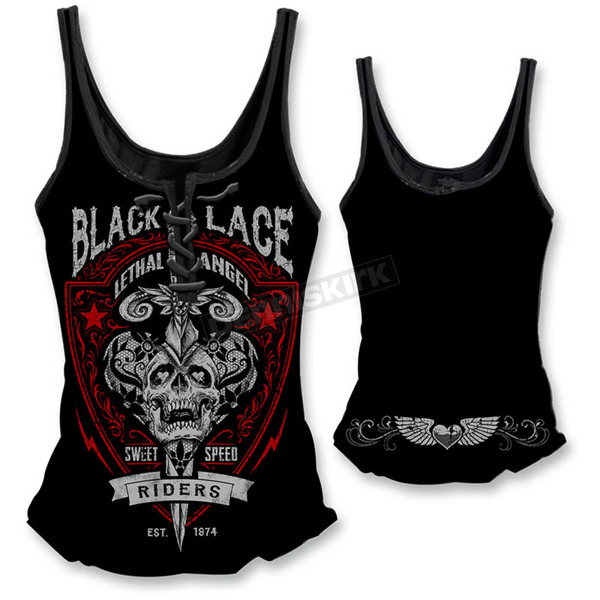Lethal Threat Womens Black Lace Riders Tank Top  - LT20334XL