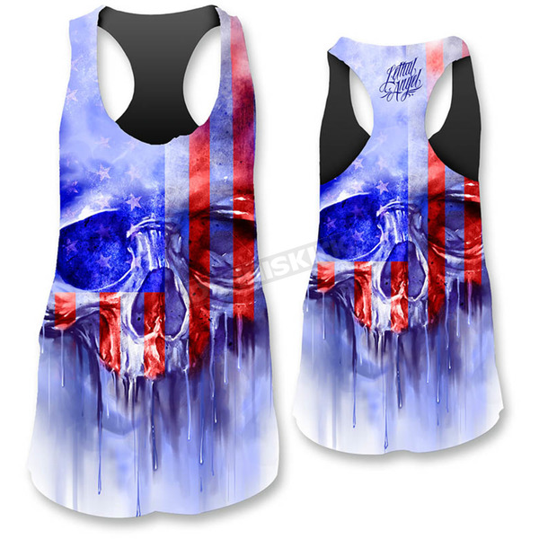 Lethal Threat Womens USA Painted Skull Tank Top  - LT20385XL