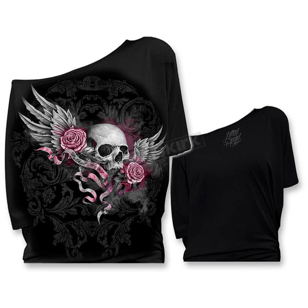 Lethal Threat Womens Winged Skull Banner Off the Shoulder Shirt  - LT20373S