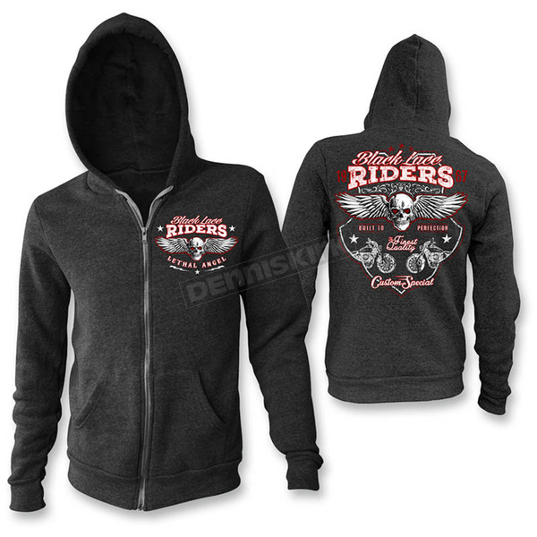 Lethal Threat Women's Black Lace Rider Hoody - HD84007M
