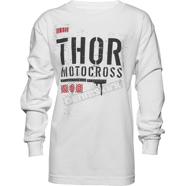Thor Youth White Objective Long Sleeve Shirt - 3032-2432