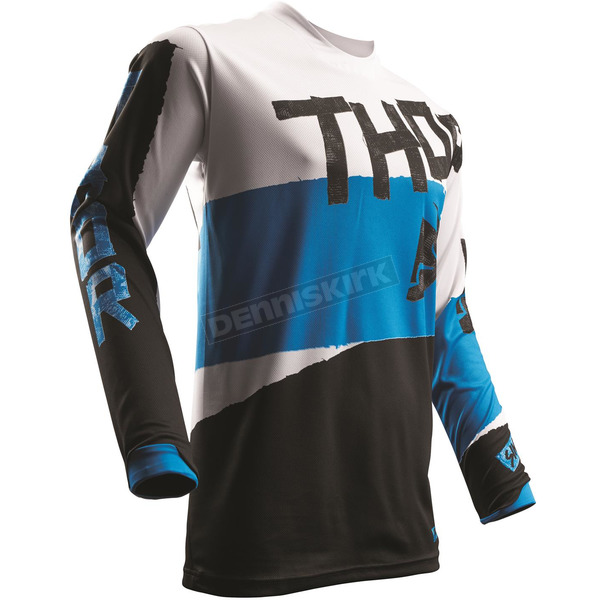 Thor White/Blue Pulse Taper Jersey - 2910-4246