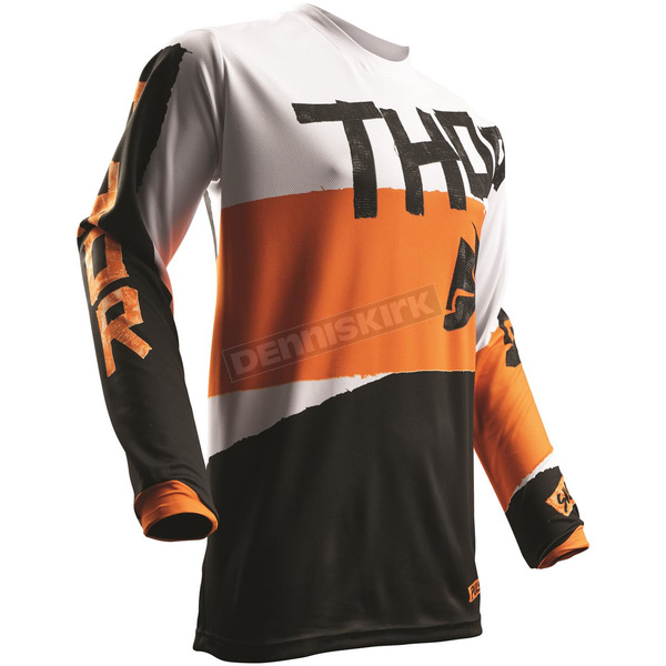 Thor White/Orange Pulse Taper Jersey - 2910-4252