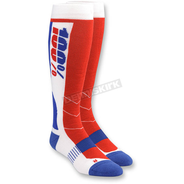 100% White Hi Side MX Socks - 24008-000-18