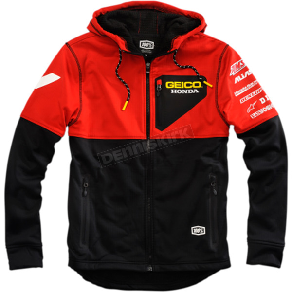 100% Geico Honda Technique Hooded Softshell Jacket - 39901-001-12