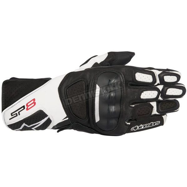 Alpinestars Black/White SP-8 v2 Leather Gloves - 3558317-12-M