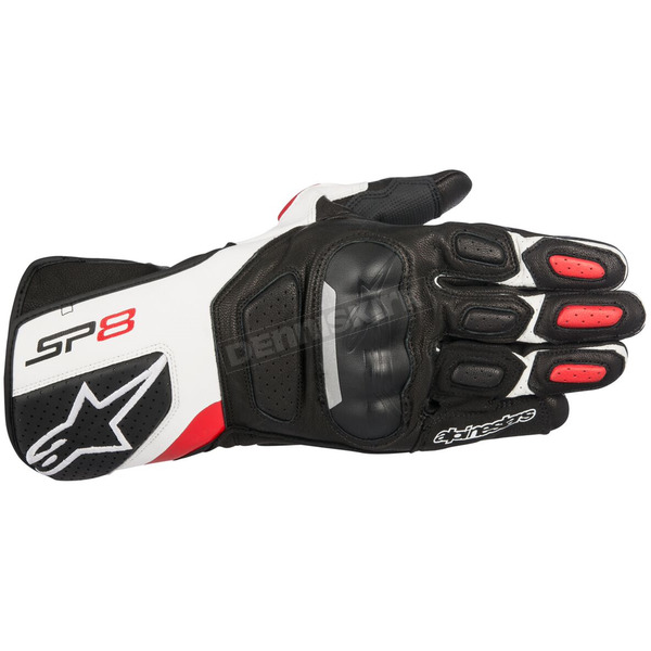 Alpinestars Black/White/Red SP-8 v2 Leather Gloves - 3558317-123-XL