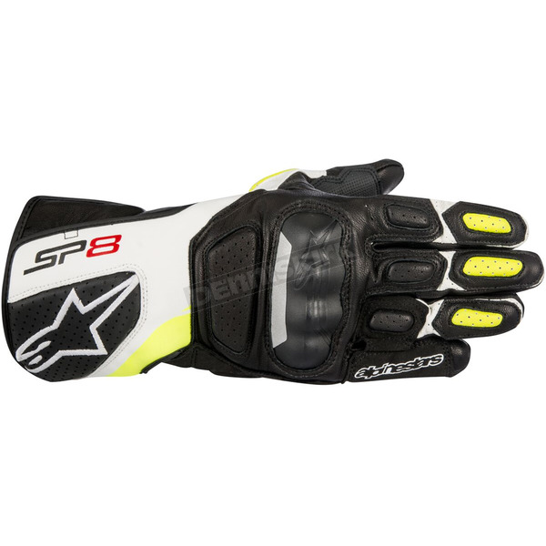 Alpinestars Black/White/Fluorescent Yellow SP-8 v2 Leather Gloves - 3558317-125-2X