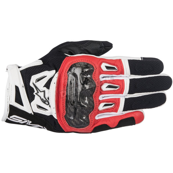 Alpinestars Black/Red/White SMX-2 Air Carbon v2 Leather Gloves - 3567717-132-M