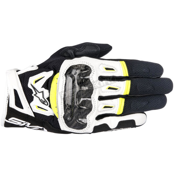 Alpinestars Black/White/Fluorscent Yellow SMX-2 Air Carbon v2 Leather Gloves - 3567717-125-XL