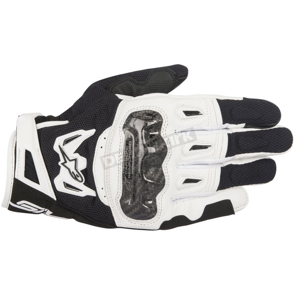 Alpinestars Black/White SMX-2 Air Carbon v2 Leather Gloves - 3567717-12-3X