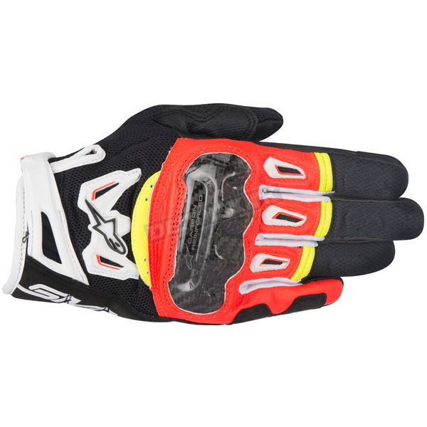 Alpinestars Black/Fluorescent Red/White/Fluorescent Yellow SMX-2 Air Carbon v2 Leather Gloves - 3567717-1325-L
