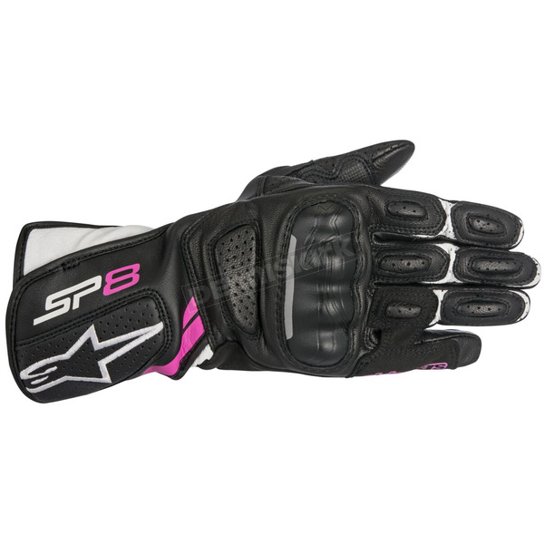 Alpinestars Black/White/Fuchsia Stella SP-8 v2 Women's Gloves - 3518317-1239-M