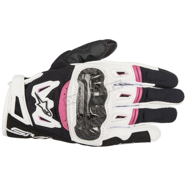 Alpinestars Womens Black/White/Pink Stella SMX-2 v2 Air Carbon Gloves - 3517717-1239-L