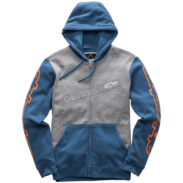 Alpinestars Gray Heather/Blue Machine Fleece Hoody - 1017530051173M