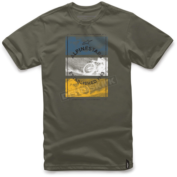 Alpinestars Military Green Burnt T-Shirt  - 101772026608-S