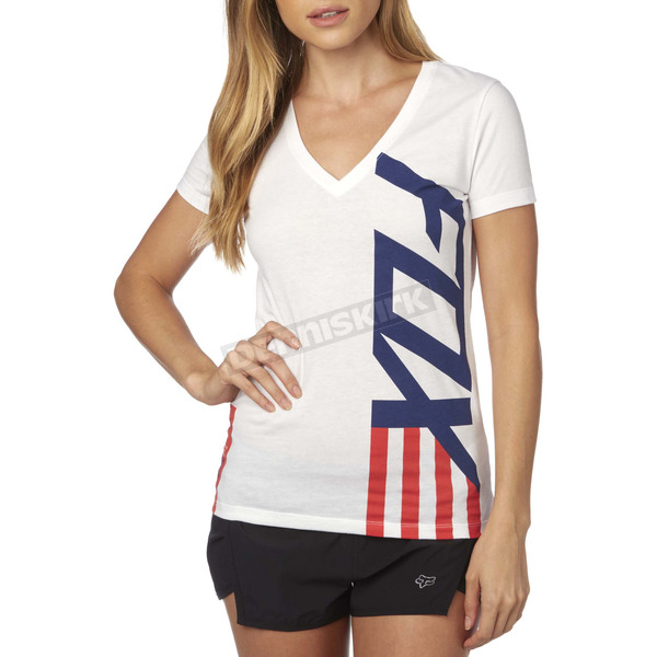 Fox Women's White Red, White And True V-Neck T-Shirt - 19170-008-XL