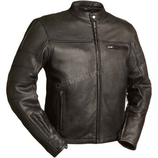 First Manufacturing Co. Black The Manchester Leather Jacket - FIM-255-NOCZ-XL