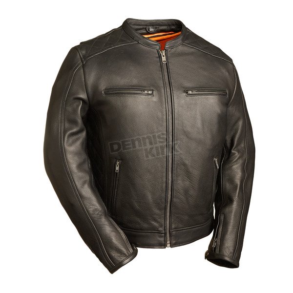 First Manufacturing Co. Black The High Roller Leather Jacket - FIM-230-NOCZ-XL
