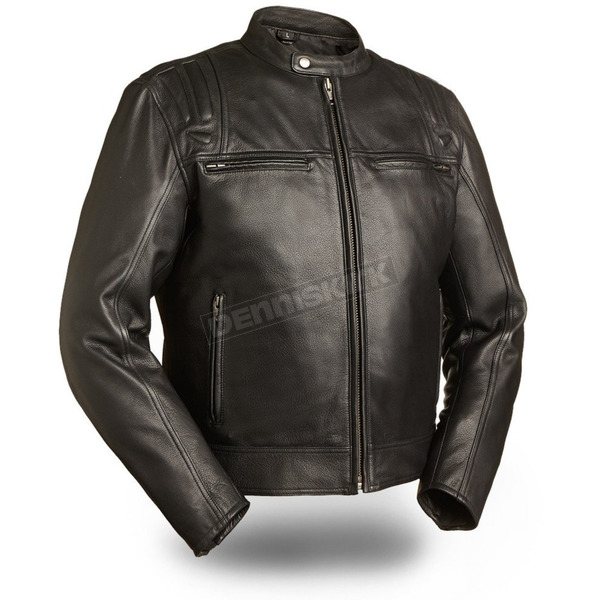 First Manufacturing Co. Black Carbon Leather Jacket - FIM-241-CCBZ-5X-3X