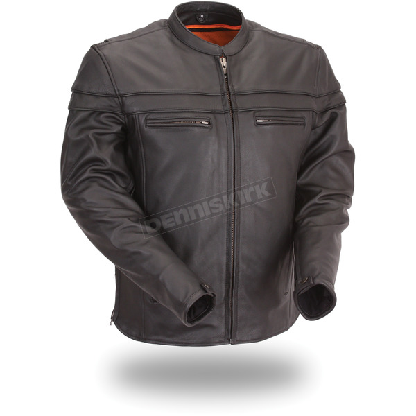 First Manufacturing Co. Black The Maverick Leather Jacket - FIM-262-NTCZ-M