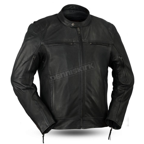 First Manufacturing Co. Black Top Performer Leather Jacket - FIM-288-CHRZ-2X