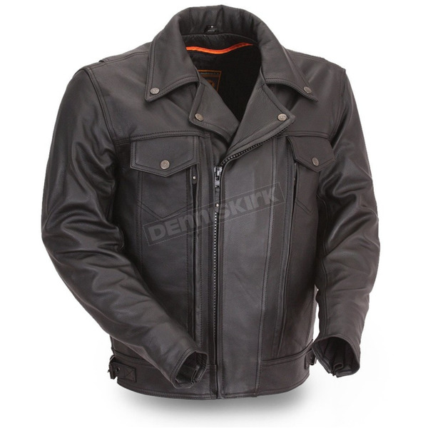 First Manufacturing Co. Black Mastermind Leather Jacket - FIM-244-BNKDZ-2X