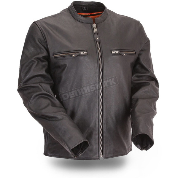 First Manufacturing Co. Black The Promoter Leather Jacket - FIM-272-CFDZ-2X