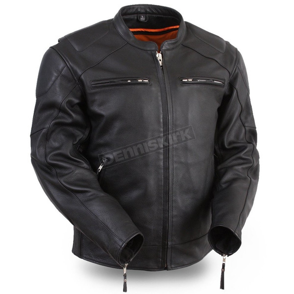 First Manufacturing Co. Black Speed Demon Leather Jacket - FIM-246-CSLZ-XL