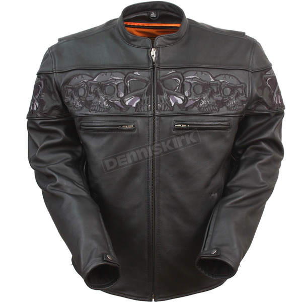 First Manufacturing Co. Black Savage Skulls Leather Jacket - FIM-243-CSLZ-XL