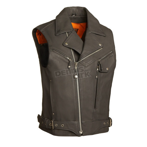 First Manufacturing Co. Black Reckless Outlaw Leather Vest - FIM-622-CSL-2X