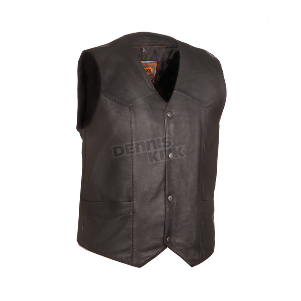 First Manufacturing Co. Black The Texan Leather Vest - FIM-643-CCB-XL